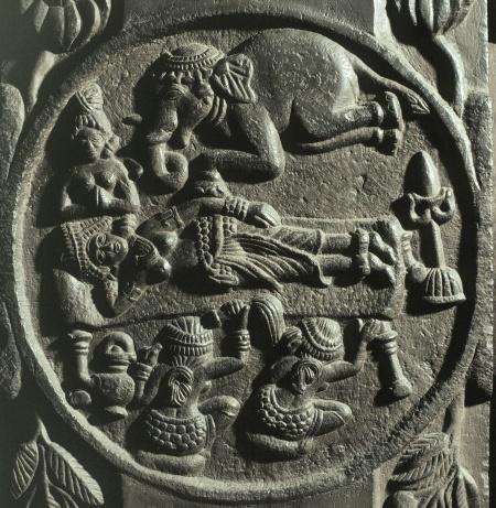 Art indien. PÈriode Sunga. St˚pa de Bh'rh˚t. Le rÍve de M'ya. IIe siËcle av. JC. Sculpture. Calcutta. Indian Museum.